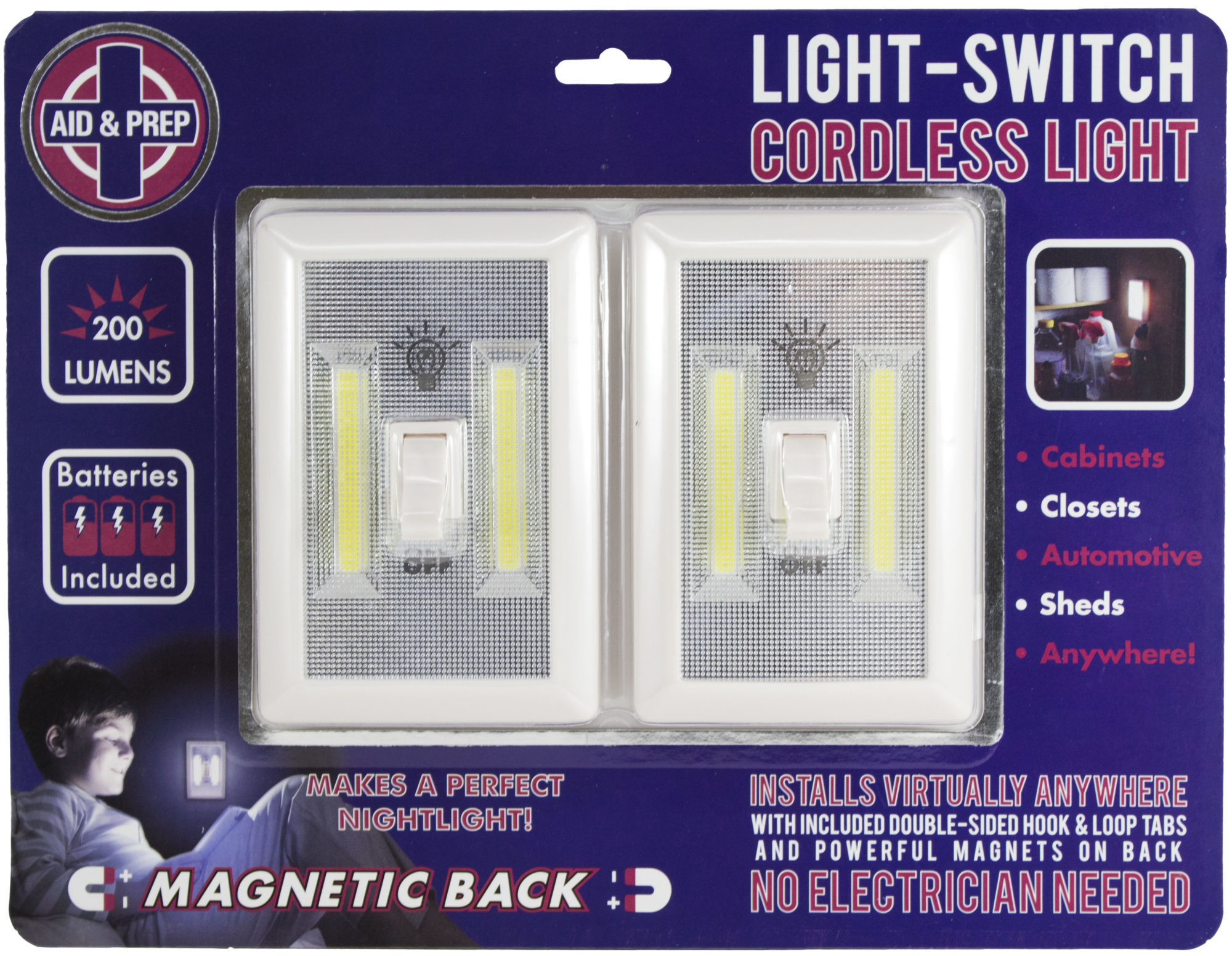 Battery Operated LED lights 2 PACK, Under Cabinet, Shelf, Closet ...